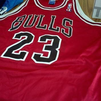 Vintage Michael Jordan #23 Chicago Bulls Champion Jersey Size 44 - L NBA Basketball s