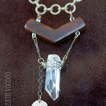The Diamond Window, Powerful Master Quartz Crystal Necklace, Positive Energy Chevron Jewelry, Arkansas Raw Healing Stone Pendant