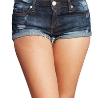 Turn It Up Cuffed Denim Shorts | Wet Seal