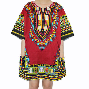 Free shipping!! African dress Dashiki Shirt Tribal summer Festival Kaftan Style Boho Hippie Shirt Caftan Dress Handmade Colorful Bohemian