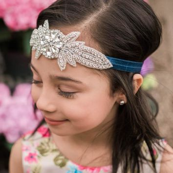 Coralee Navy Blue Crystal Jewel Headband