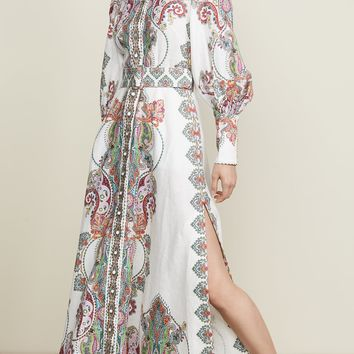 Ivory Paisley Print Belted Maxi Dress