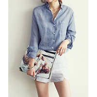WOMENS LONG-SLEEVE COTTON BUTTON-UP