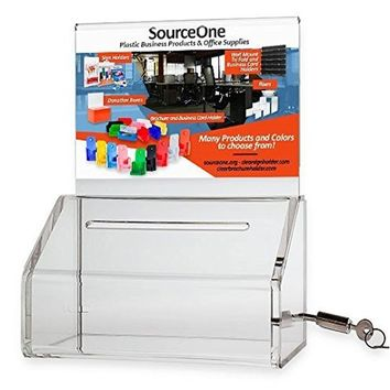 SourceOne Donation Box with Lock - 5-Inch Wide Acrylic Storage Container - Clear Sign Holder