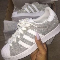 adidas originals superstar silver shiny fashion shell toe series flats sneakers sport shoes