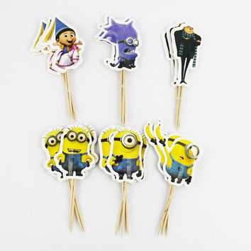 24pcs/lot Minions Christmas Cake Pick Toppers Party Supplies Birthday Wedding Cupcake Decorating Happy Birthday Home Party Set