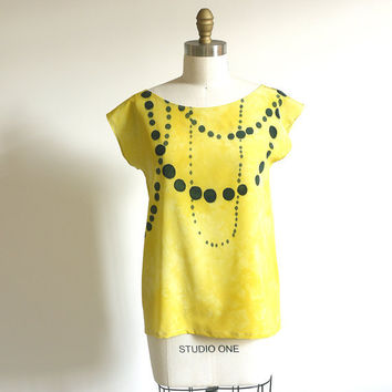 silk hand painted blouse INK BEADS on Limon made to by xsilk