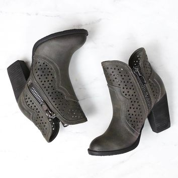 not rated - gretchen laser cut ankle bootie - charcoal grey