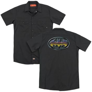 Batman - Hot Rod Shield (Back Print) Adult Work Shirt