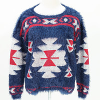 Furry aztec print long sleeve sweater