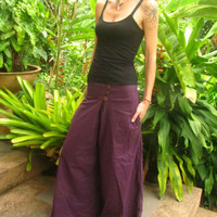 Purple Cotton Flare Trousers Pants Alibaba Boho Hippie Yoga Festival Travel | eBay
