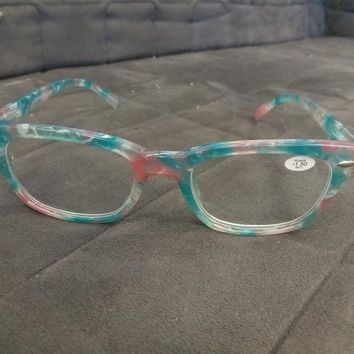 Blue, Pink, White Marble Glasses Readers