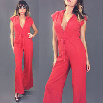 Vintage 1970's RED Hot Bell Bottom Cotton Jumpsuit | Plunging Zipper Neckline | Size Small To Medium