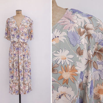 1990s Dress - Vintage 90s Floral Pastel Dress - Faded Bunch Dress