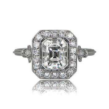 Vintage Style Engagement Ring Emerald Cut Diamond - 1ct Antique Emerald Cut Diamond Ring