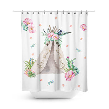 Aqua & Pink Teepee Shower Curtain