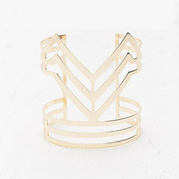Geo Design Cuff in Gold - Urban Outfitters