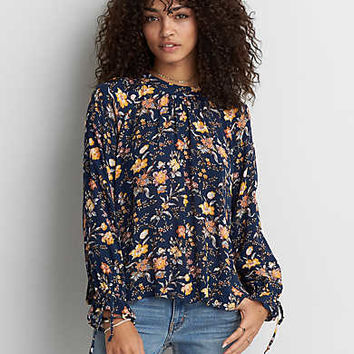 AEO Mock Neck Printed Top , Blue