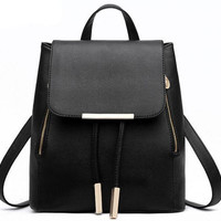 Black Tassel Leather Travelling Bag School Bag Canvas Casual Backpack Lightweight Bookbag Daypack