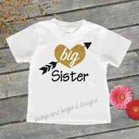 Big Sister Girls Shirt Big Sister Shirt Glitter Sparkle Big Sister Little Sister Shirt Gold Big Sister Shirt Baby Announcement 036
