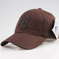 Coffee Color Sports NY Cotton Baseball embroidered cap