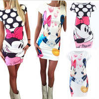 2016 New Fashion Women Summer Plus Size S-3XL Short Sleeve Slim Bodycon Cartoon Mouse Print Sexy Mini Dress Vestido Curto Cortos