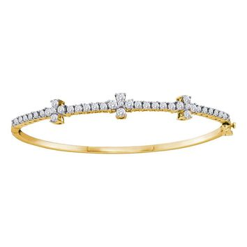 14kt Yellow Gold Womens Round Diamond Pave-set Bangle Bracelet 1-1/2 Cttw