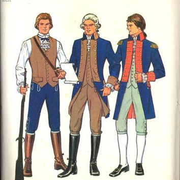 Simplicity 6741 Sewing Pattern 70s Men's Bicentennial Costume Cosplay Reenactment Civil Revolutionary War Uniform Suit Jacket Uncut Size 40