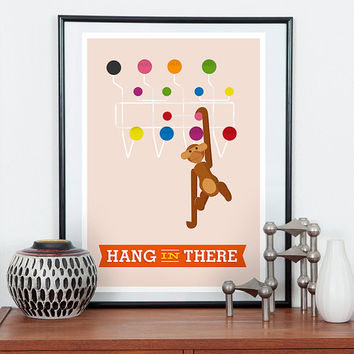 Danish modern poster, Kaj Bojesen,  Monkey print, Pink wall art, Motivational quote, Inspirational print, Retro print, Scandinavian design