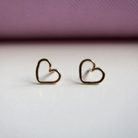 14K gold filled heart post stud earrings Simple by RimmaJewelry