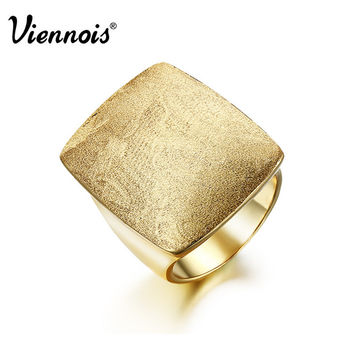 Newest Viennois Gold or Silver Plated GB Geometric Rings for Women Jewelry Square Weddings Rings