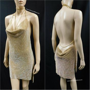 Gold Sexy Luxury Party Metal Crystal Diamond Chain Halter Dress - Backless