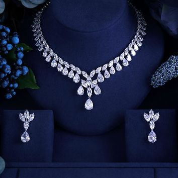 Clear FAMOUS BRAND BRILLIANT CRYSTAL ZIRCON EARRINGS AND NECKLACE SETS BRIDAL JEWELRY SET WEDDING DRESS ACCESSARIES