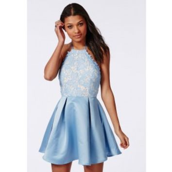 Lace Halterneck Skater Dress Powder Blue - Dresses - Skater Dresses - Missguided
