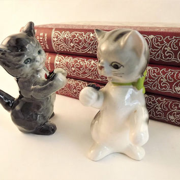 Glass Cat Figurine, Cat and Lady Bug Set, 2 Gray Cats, Large Goebel West Germany Cat, Grey Striped Porcelain Vintage Cat