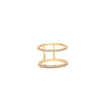 Micro pave ring - Double band ring, Gold ring, double ring, minimal ring