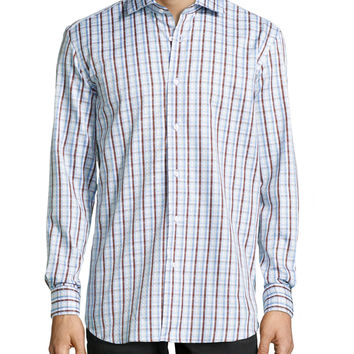 Men's Grady Woven Plaid Dress Shirt, Brown - Robert Graham - Brown