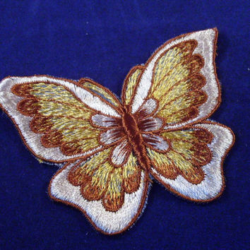 Vintage Sew On Patch Butterfly Shades of Brown 1970s