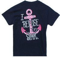 Bjaxx Refuse to Sink Anchor Navy Christian Girlie Bright T Shirt