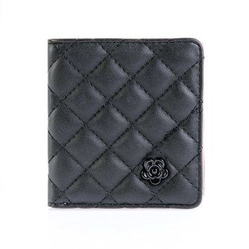 Damara Womens Quilted Lattice Camellia Square Credit Card Wallet