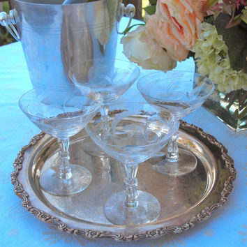 Vintage Crystal Champagne Coupe Glasses Blown Glass Etched with Swirls and Fancy Stems Set of 4 - Wedding Gift Housewarming Gift