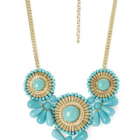 Beaded Medallion Bib Necklace