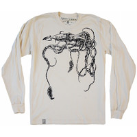 The Giant Squid: Unisex Organic Fine Jersey Long Sleeve T-Shirt in Unbleached Natural
