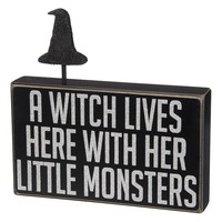 ''A Witch Lives Here'' Wooden Box Sign Art