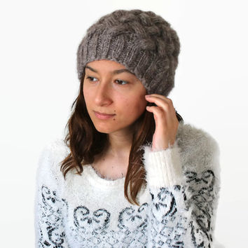 Dark Cream, Dark Beige Beanie Hat , Oversized hat , Gray Cream knit hat women, Gray Beige beanie women.