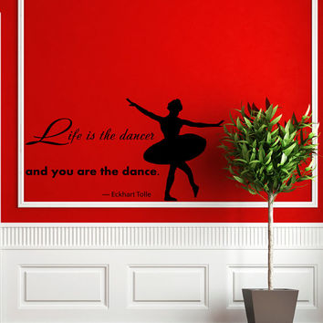 Quote About Dance Life Ballet with Dancer Ballerina Vinyl Decal Home Wall Decor Dance School Studio Stylish Sticker Unique Design Room V516