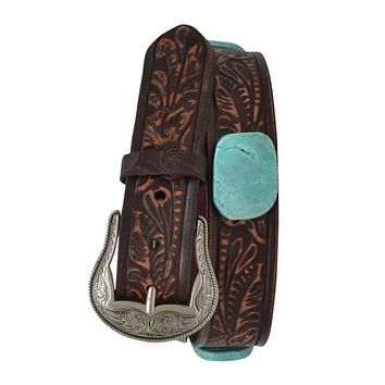 Cowgirl Kim Brown Distressed Embossed Belt with Twin Slab Conchos