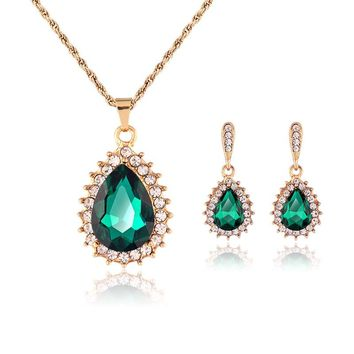 2017 New Indian Bridal Brand New Fashion Necklace Crystal Fine Wedding Jewelry African Beads Jewelry Sets For Women