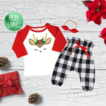 Reindeer Gold Christmas Girl Outfit