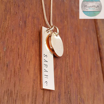 Rose Gold Rectangle with Rose Gold Disk, Customised Own Names. Hand Stamped / Engraved